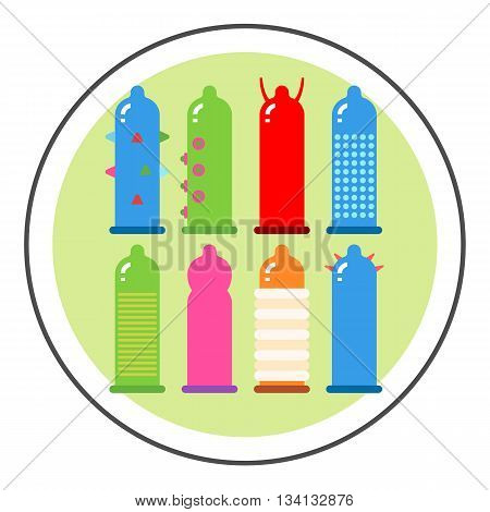 Condom set vector icon. Colored line icon of eight different types of condoms