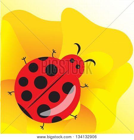 Cute ladybug on yellow flower cartoon style