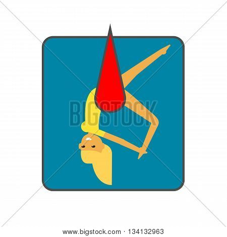 Female circus acrobat vector icon. Colored line icon of female circus acrobat hanging on hammock
