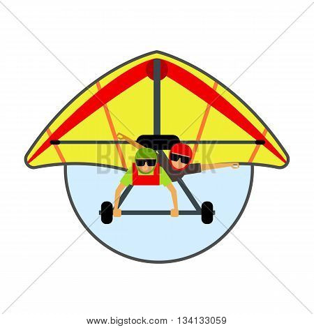 Hang glider icon. Colored vector illustration of hang glider with two male gliders