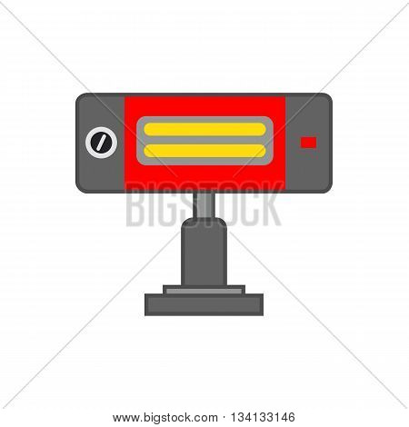 Heating lamp vector icon. Colored line illustration of electric heating lamp