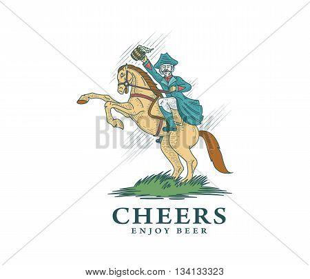 Horse rider enjoying artisan home made beer