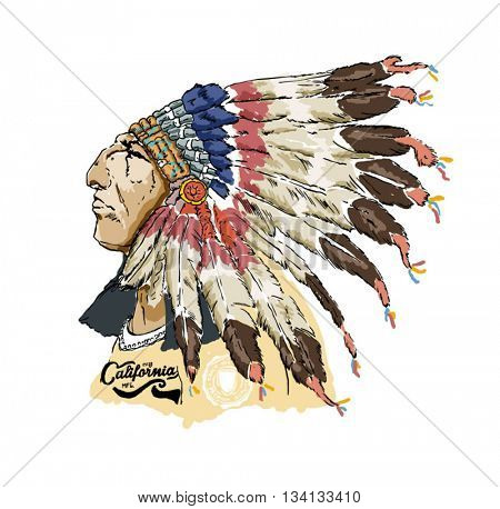 varsity native american racer illustration 2