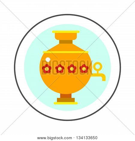 Samovar vector icon. Colored line icon of special kettle for boiling water for tea in Russia