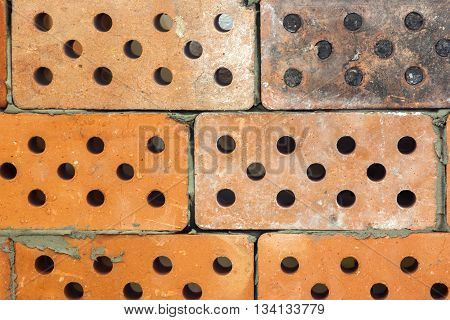 Yellow and grey old dirty bricks pattern background