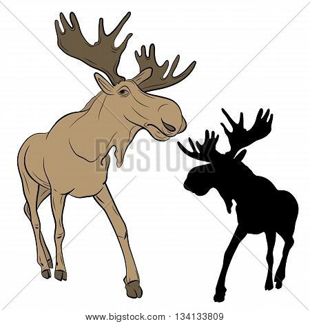 adult moose go black silhouette set realistic vector illustration