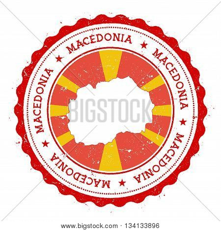 Macedonia, The Former Yugoslav Republic Of Map And Flag In Vintage Rubber Stamp Of State Colours.. G
