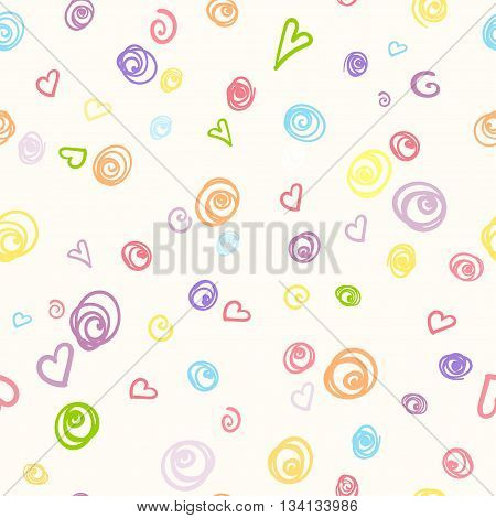 Seamless pattern with colored doodle of felt-tip pen. Vector illustration