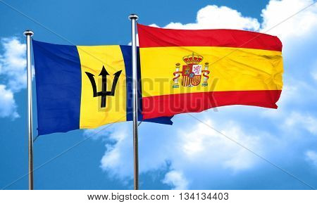 Barbados flag with Spain flag, 3D rendering