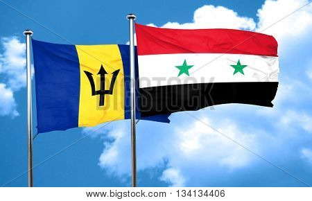 Barbados flag with Syria flag, 3D rendering