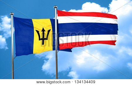 Barbados flag with Thailand flag, 3D rendering