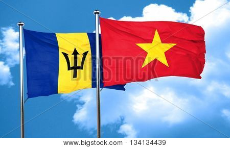 Barbados flag with Vietnam flag, 3D rendering