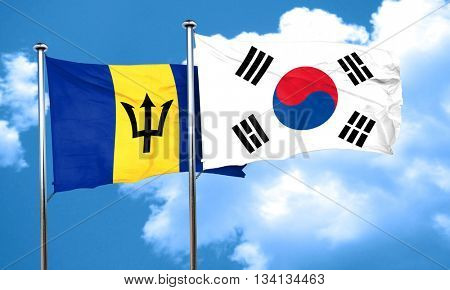 Barbados flag with South Korea flag, 3D rendering