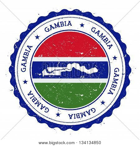 Gambia Map And Flag In Vintage Rubber Stamp Of State Colours. Grungy Travel Stamp With Map And Flag