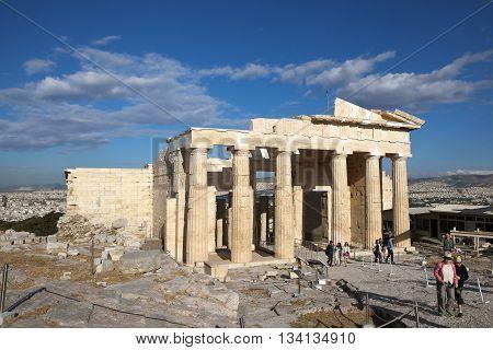 ATHENS, GREECE - MAY 6, 2016: Photo of Propylaea. Acropolis.