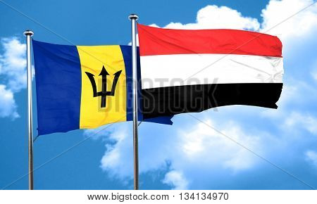Barbados flag with Yemen flag, 3D rendering