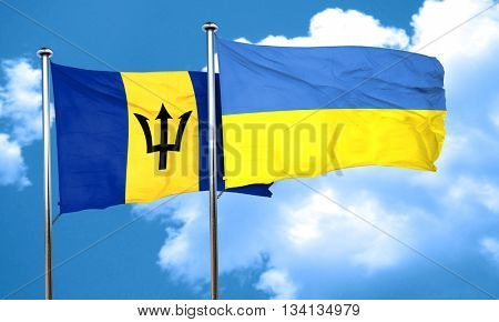 Barbados flag with Ukraine flag, 3D rendering