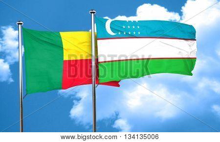 Benin flag with Uzbekistan flag, 3D rendering