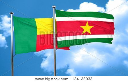 Benin flag with Suriname flag, 3D rendering