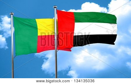 Benin flag with UAE flag, 3D rendering
