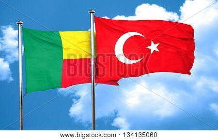 Benin flag with Turkey flag, 3D rendering