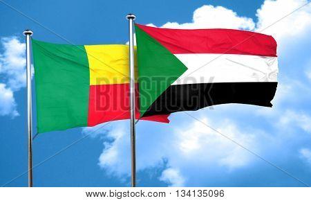 Benin flag with Sudan flag, 3D rendering