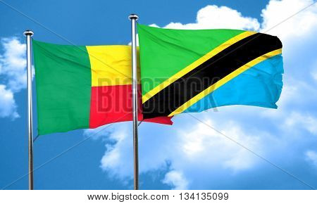 Benin flag with Tanzania flag, 3D rendering