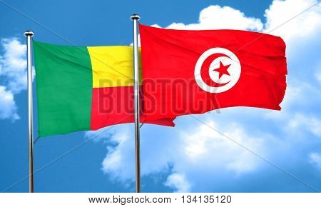 Benin flag with Tunisia flag, 3D rendering
