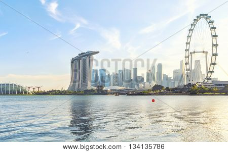 Singapore Marina Bay from Marina East. Modern city architecture at sunset
