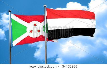 Burundi flag with Yemen flag, 3D rendering