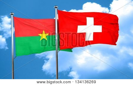 Burkina Faso flag with Switzerland flag, 3D rendering