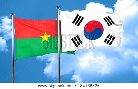 Burkina Faso flag with South Korea flag, 3D rendering