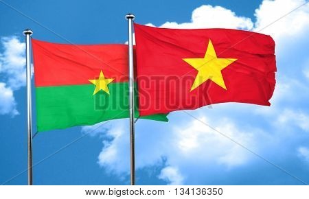 Burkina Faso flag with Vietnam flag, 3D rendering