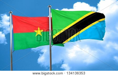 Burkina Faso flag with Tanzania flag, 3D rendering