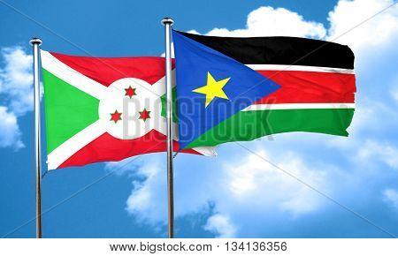 Burundi flag with South Sudan flag, 3D rendering