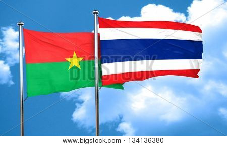 Burkina Faso flag with Thailand flag, 3D rendering