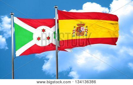 Burundi flag with Spain flag, 3D rendering