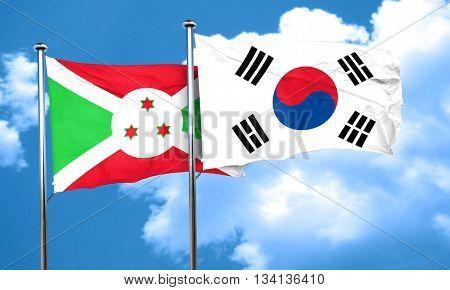 Burundi flag with South Korea flag, 3D rendering