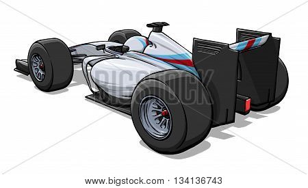 back view funny fast cartoon formula race car illustration