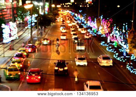 Blur of Traffic Jam at night in Thailand