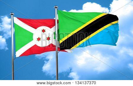 Burundi flag with Tanzania flag, 3D rendering