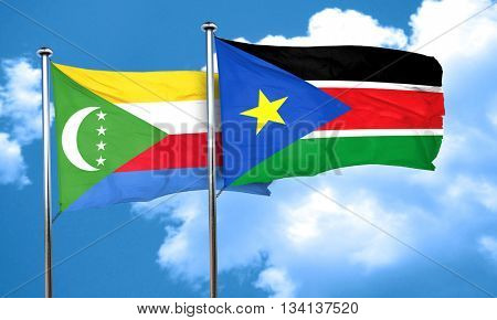 Comoros flag with South Sudan flag, 3D rendering