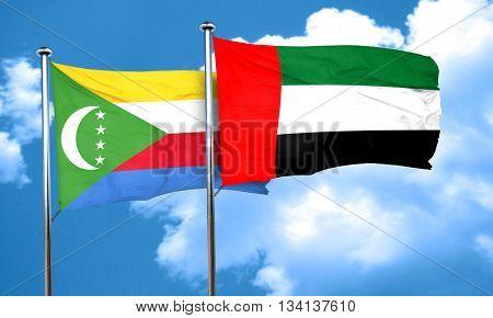 Comoros flag with UAE flag, 3D rendering