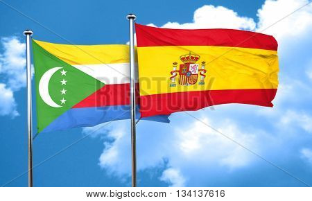 Comoros flag with Spain flag, 3D rendering