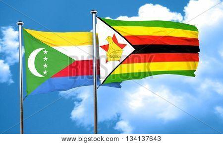 Comoros flag with Zimbabwe flag, 3D rendering