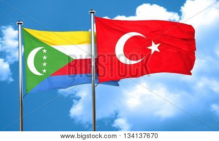 Comoros flag with Turkey flag, 3D rendering