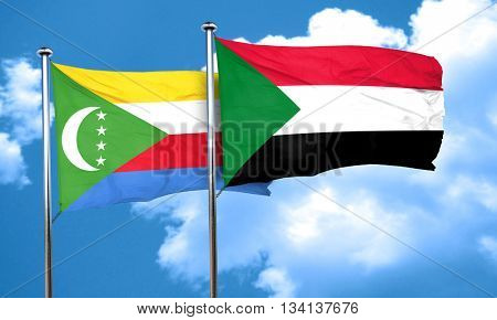 Comoros flag with Sudan flag, 3D rendering