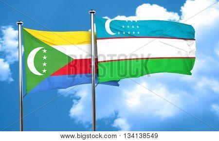 Comoros flag with Uzbekistan flag, 3D rendering