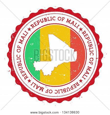 Mali Map And Flag In Vintage Rubber Stamp Of State Colours. Grungy Travel Stamp With Map And Flag Of