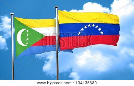 Comoros flag with Venezuela flag, 3D rendering